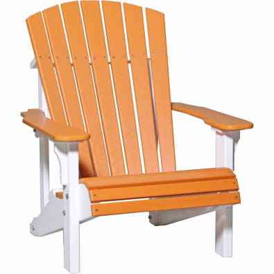 LuxCraft Poly Deluxe Adirondack Chair Tangerine & White