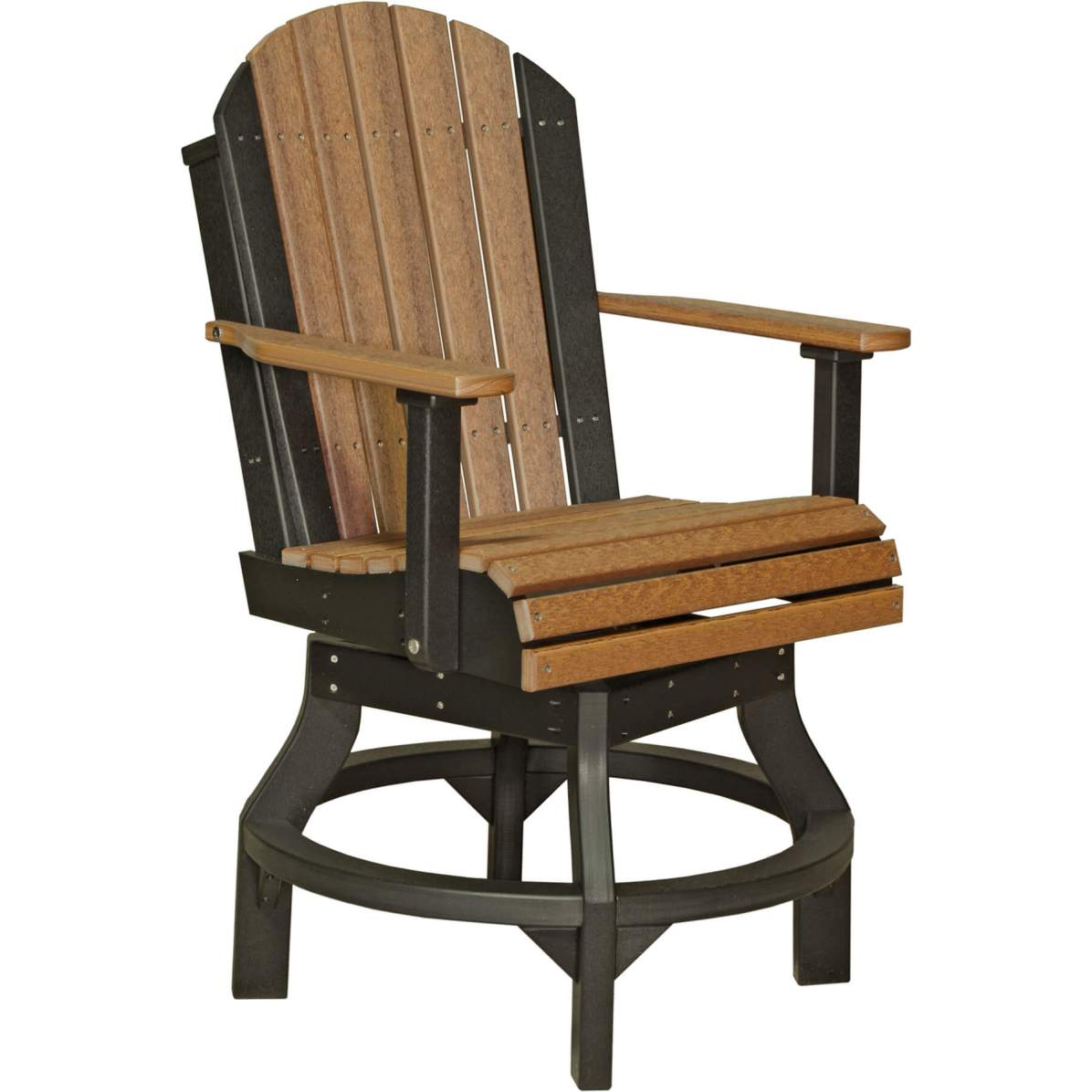 PASCCAMB Poly Adirondack Swivel Chair Counter Height (Antique Mahogany & Black)