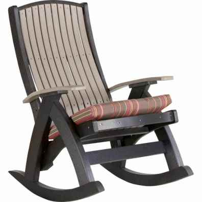 LuxCraft Poly Comfort Rocker Weatherwood & Black