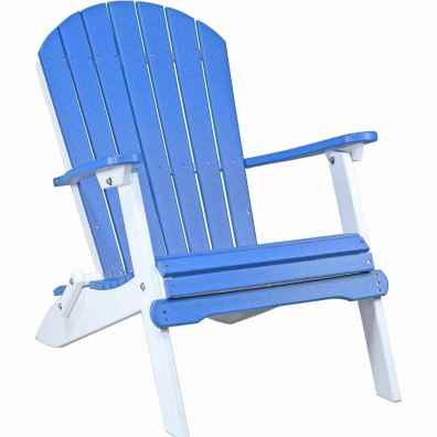 LuxCraft Poly Folding Adirondack Chair Blue & White