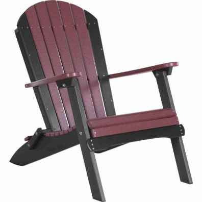LuxCraft Poly Folding Adirondack Chair Cherrywood & Black