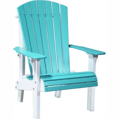 LuxCraft Poly Royal Adirondack Chair Aruba Blue & White