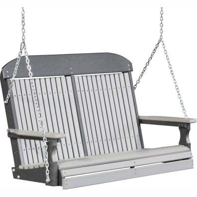 LuxCraft Poly 4' Classic Swing Dove Gray & Slate
