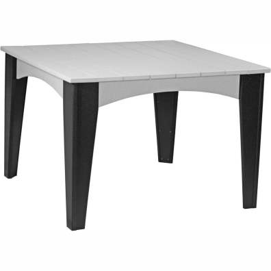 Island Dining Table (44 Square) Dove Grey & Black