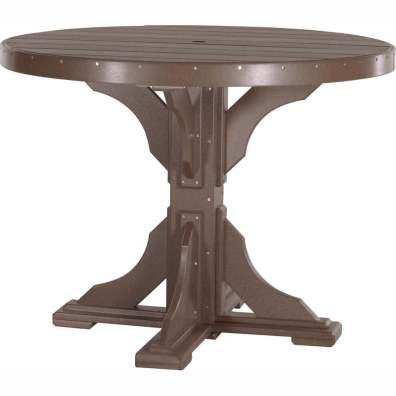 LuxCraft Poly 4' Round Table Counter Height Chestnut Brown