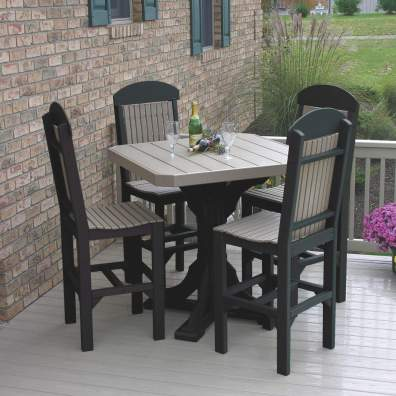 """LuxCraft Poly 41"""" Square Table Set #1 Weatherwood & Black Bar Height"""