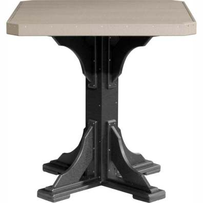 """LuxCraft Poly 41"""" Square Table Bar Height Weatherwood & Black"""