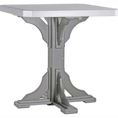"LuxCraft Poly 41"" Square Table Bar Height Dove Gray & Slate"
