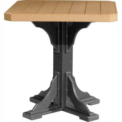 """LuxCraft Poly 41"""" Square Table Bar Height Cedar & Black"""