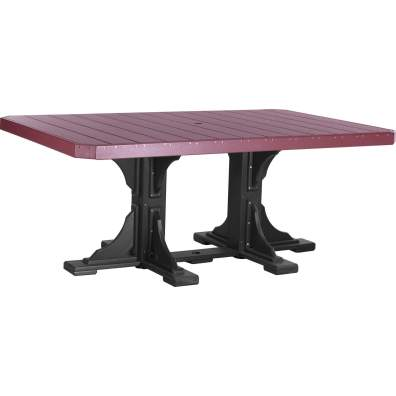 LuxCraft Poly 4x6 Rectangular Table Cherrywood & Black