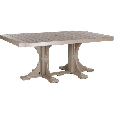 LuxCraft Poly 4x6 Rectangular Table Weatherwood