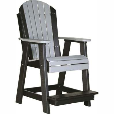 LuxCraft Poly Adirondack Balcony Chair Dove Gray & Black