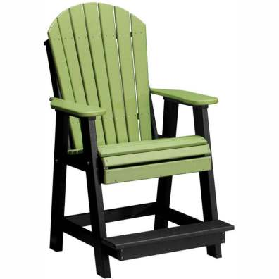 LuxCraft Poly Adirondack Balcony Chair Lime Green & Black