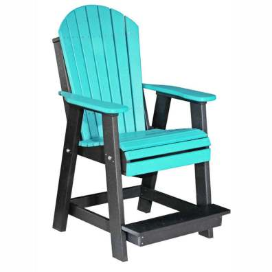 LuxCraft Poly Adirondack Balcony Chair Aruba Blue & Black