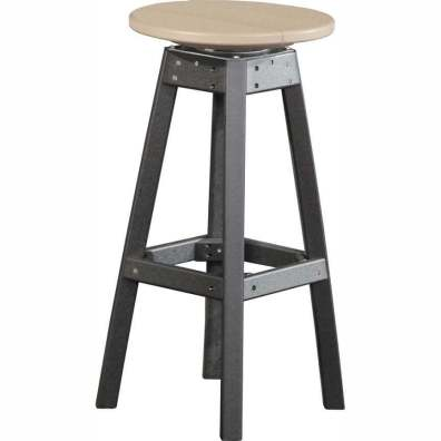 LuxCraft Poly Swivel Bar Stool Weatherwood & Black