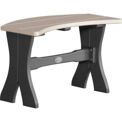 LuxCraft Poly 28'' Table Bench Weatherwood & Black
