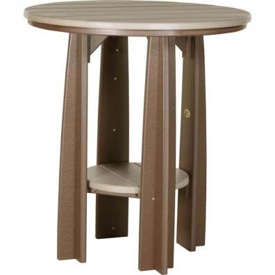 "LuxCraft Poly 36"" Balcony Table Weatherwood & Chestnut Brown"
