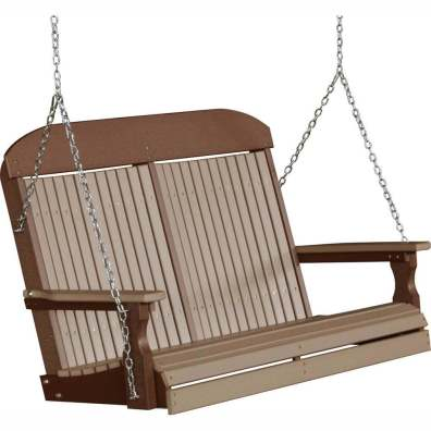 LuxCraft Poly 4' Classic Swing Weatherwood & Chestnut Brown