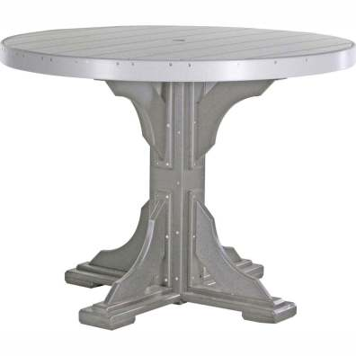 LuxCraft Poly 4' Round Table Counter Height Dove Gray & Slate