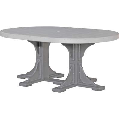 LuxCraft Poly 4x6 Oval Table Dove Gray & Slate