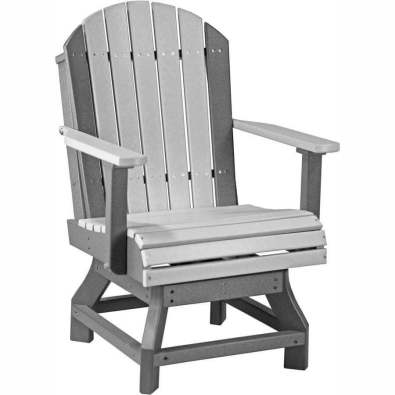 LuxCraft Poly Adirondack Swivel Chair (Dining Height) Dove Grey & Slate