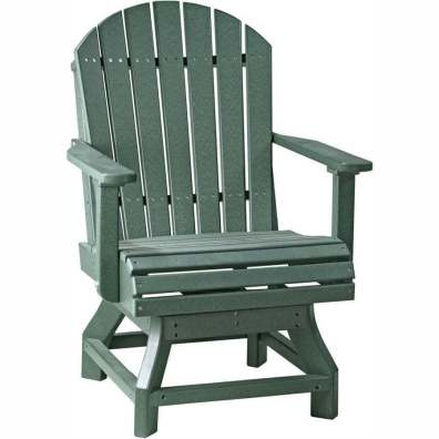 LuxCraft Poly Adirondack Swivel Chair (Dining Height) Green