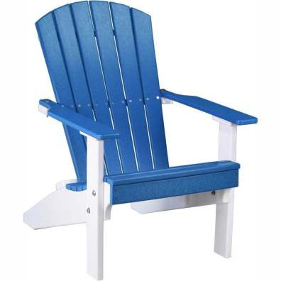 LuxCraft Poly Lakeside Adirondack Chair Blue & White