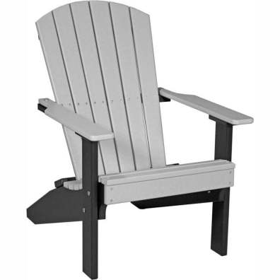 LuxCraft Poly Lakeside Adirondack Chair Dove Gray & Black