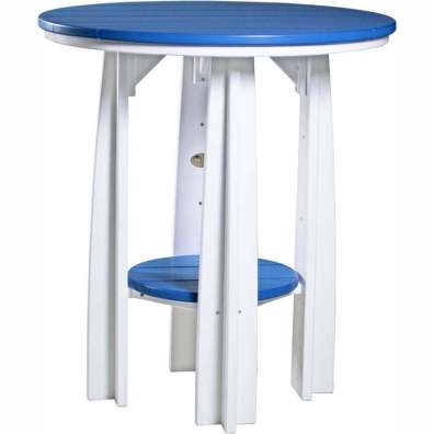 """LuxCraft Poly 36"""" Balcony Table Blue & White"""