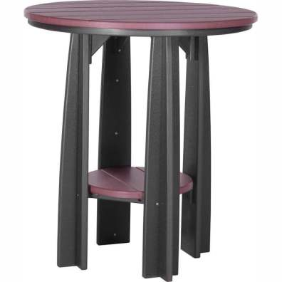 "LuxCraft Poly 36"" Balcony Table Cherrywood & Black"