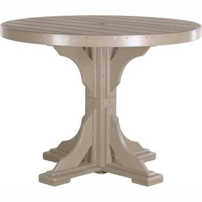 LuxCraft Poly 4' Round Table Counter Height Weatherwood