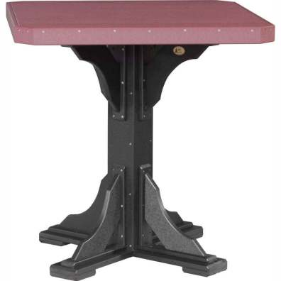 "LuxCraft Poly 41"" Square Table Bar Height Cherrywood & Black"