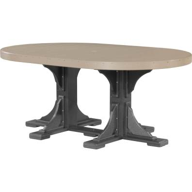 LuxCraft Poly 4x6 Oval Table Weatherwood & Black