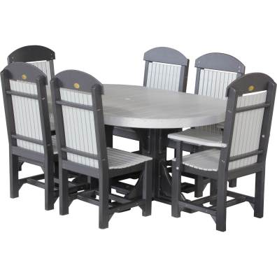 LuxCraft Poly 4x6 Oval Table Set #2 Dove Gray & Black Dining Height
