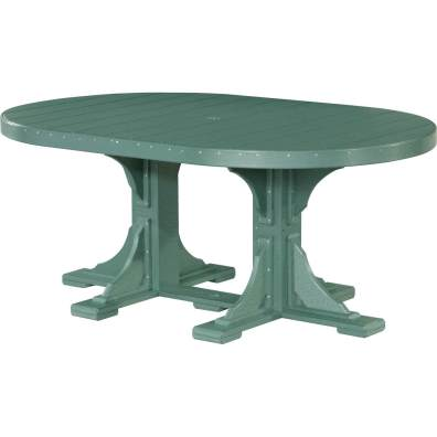 LuxCraft Poly 4x6 Oval Table Green