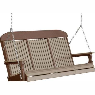 LuxCraft Poly 5' Classic Swing Weatherwood & Chestnut Brown