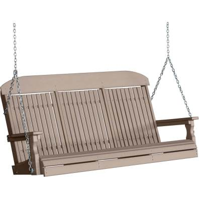 LuxCraft Poly 5' Classic Swing Weatherwood