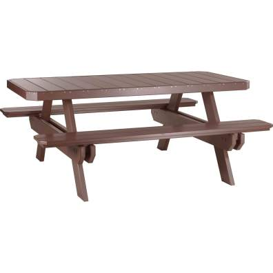 LuxCraft Poly 6' Rectangular Picnic Table Chestnut Brown