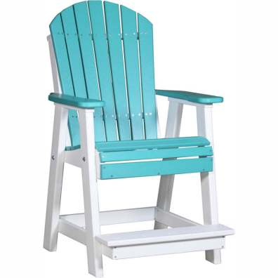 LuxCraft Poly Adirondack Balcony Chair Aruba Blue & White