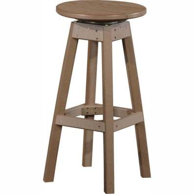 LuxCraft Poly Swivel Bar Stool Chestnut Brown