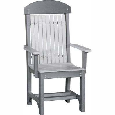 LuxCraft Poly Captain's Chair Dining Height Dove Gray & Slate