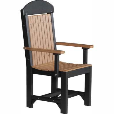 LuxCraft Poly Captain's Chair Dining Height Cedar & Black