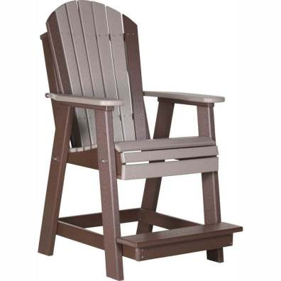 LuxCraft Poly Adirondack Balcony Chair Weatherwood & Chestnut Brown