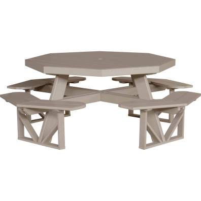 LuxCraft Poly Octagon Picnic Table Weatherwood
