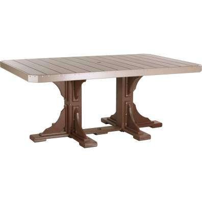 LuxCraft Poly 4x6 Rectangular Table Weatherwood & Chestnut Brown