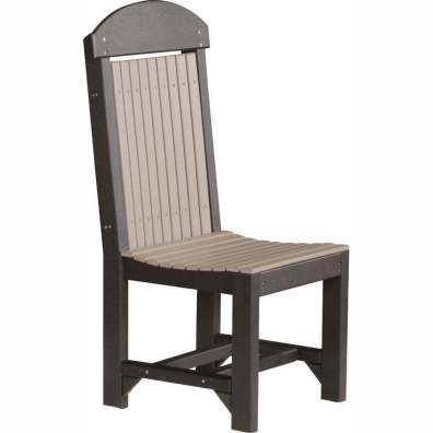 LuxCraft Poly Regular Chair Dining Height Weatherwood & Black