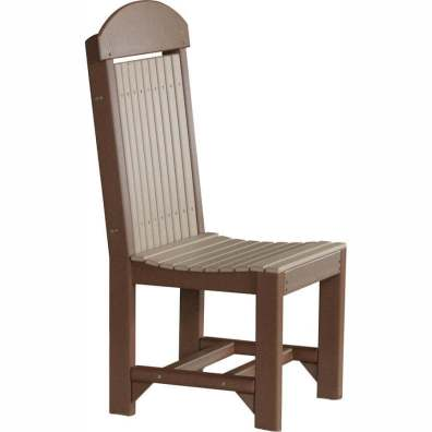 LuxCraft Poly Regular Chair Dining Height Weatherwood & Chestnut Brown