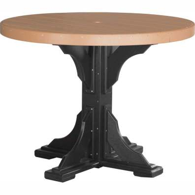 LuxCraft Poly 4' Round Table Counter Height Cedar & Black