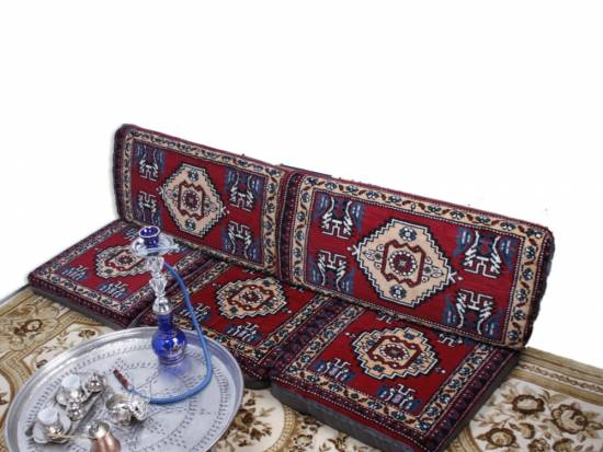 Orientalischer runder Pouf aus Baumwolle 50cm inklusive