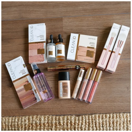 catrice clean id limited edition collection review swatch bronzer highlighter foundation concealer lipgloss brush skincare mascara setting spray